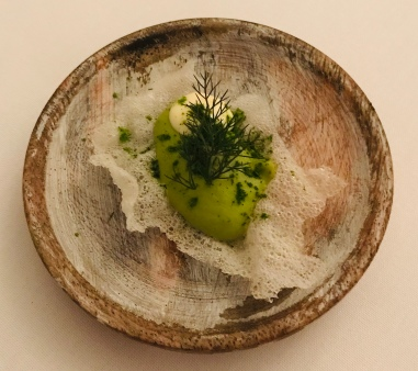 Pea puree amuse bouche
